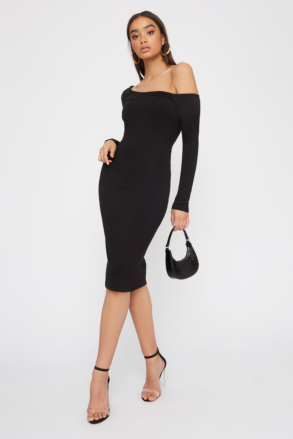 One Shoulder Long Sleeve Bodycon Midi Dress Black