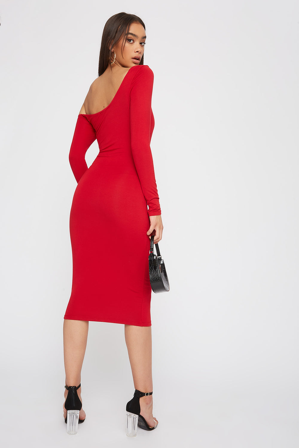 One Shoulder Long Sleeve Bodycon Midi Dress Red