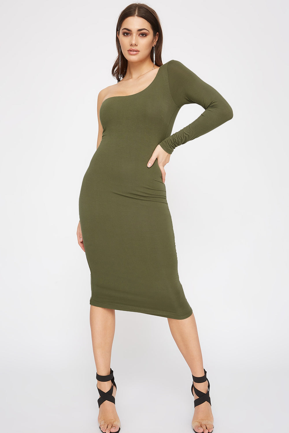 One Shoulder Bodycon Midi Dress Dark Green