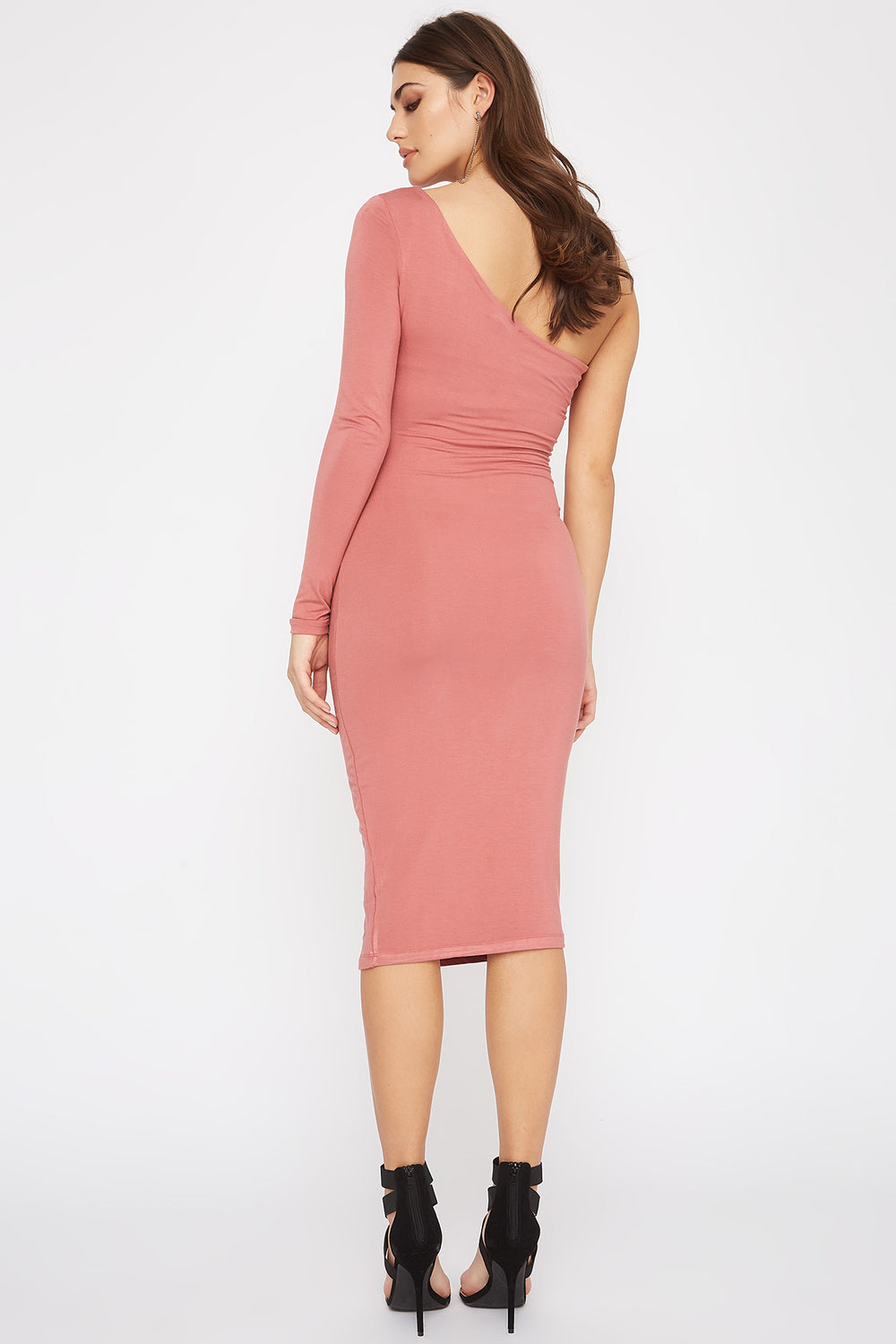 One Shoulder Bodycon Midi Dress Dark Pink
