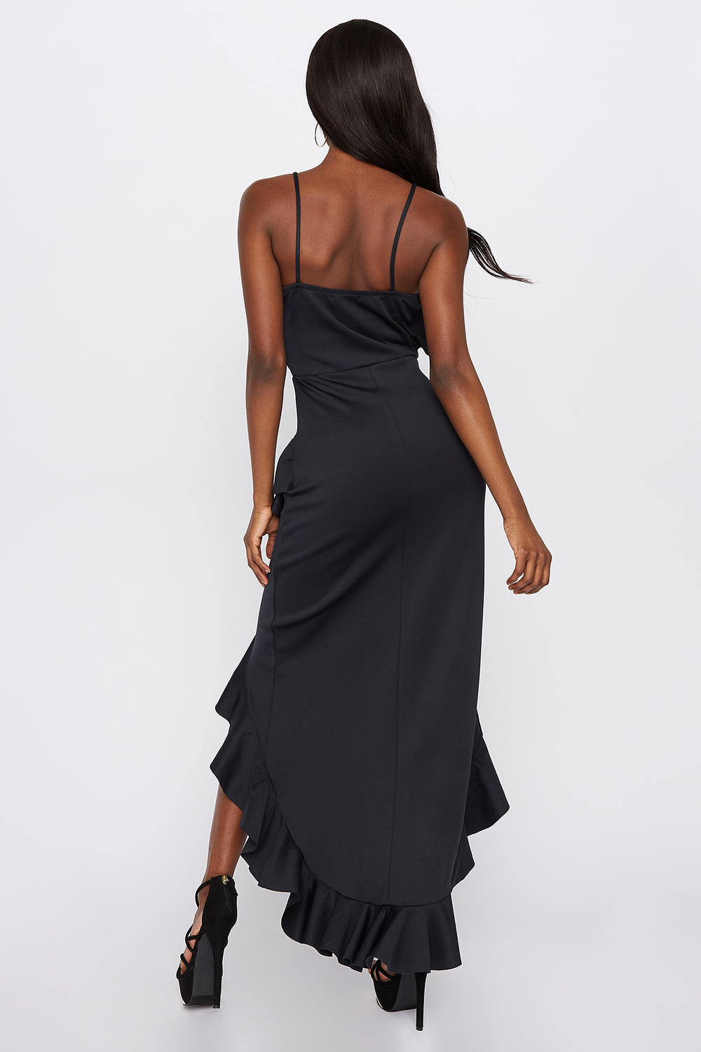 Scuba Asymmetrical Ruffle Hem High-Low Dress Black