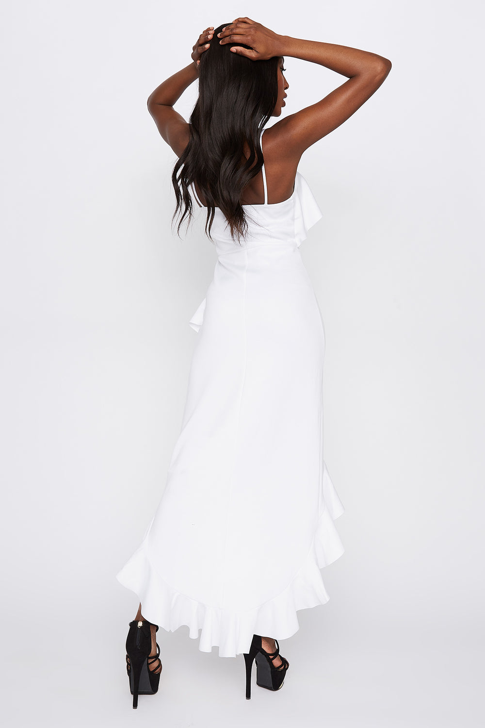 Scuba Asymmetrical Ruffle Hem High-Low Dress White
