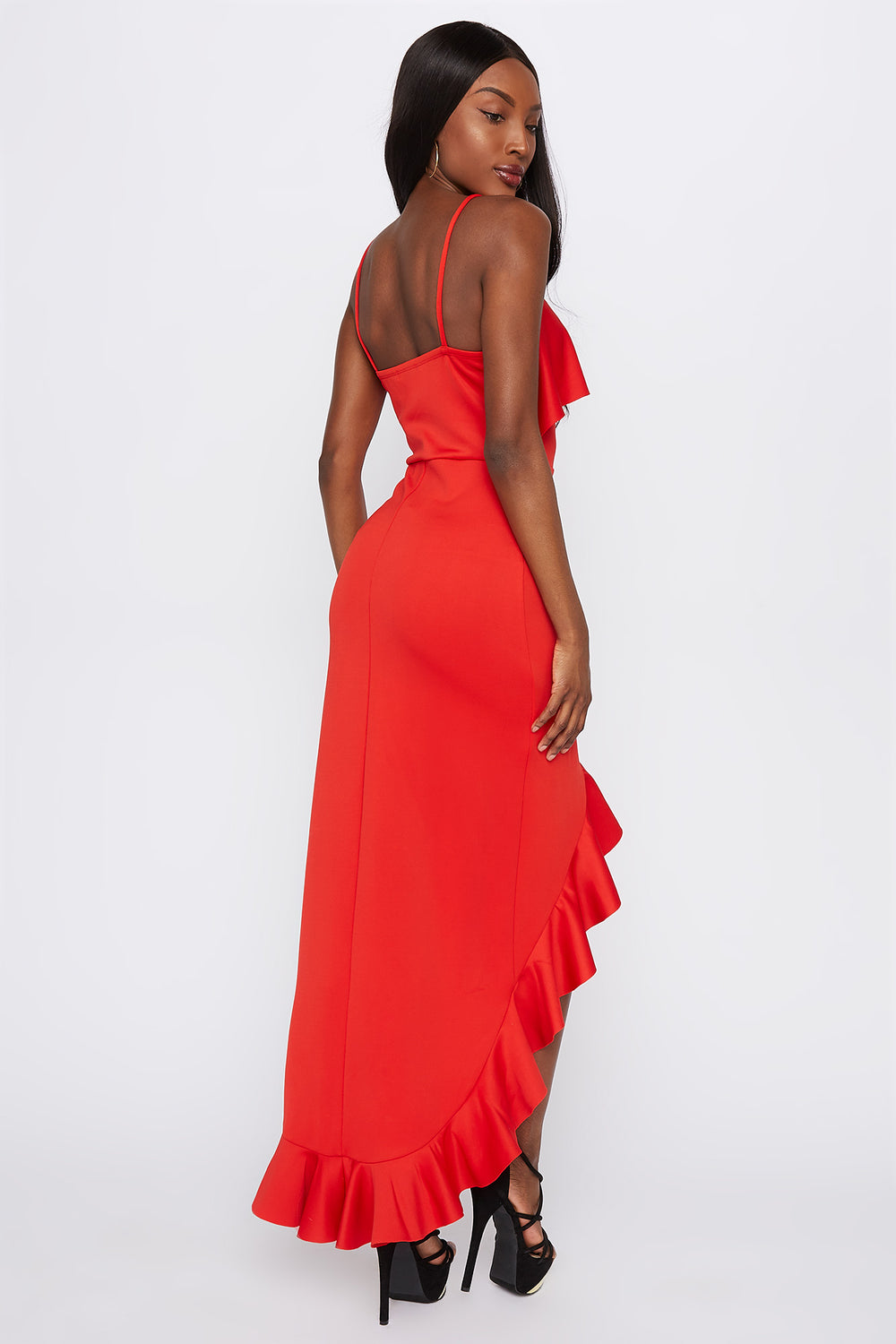 Scuba Asymmetrical Ruffle Hem High-Low Dress Red