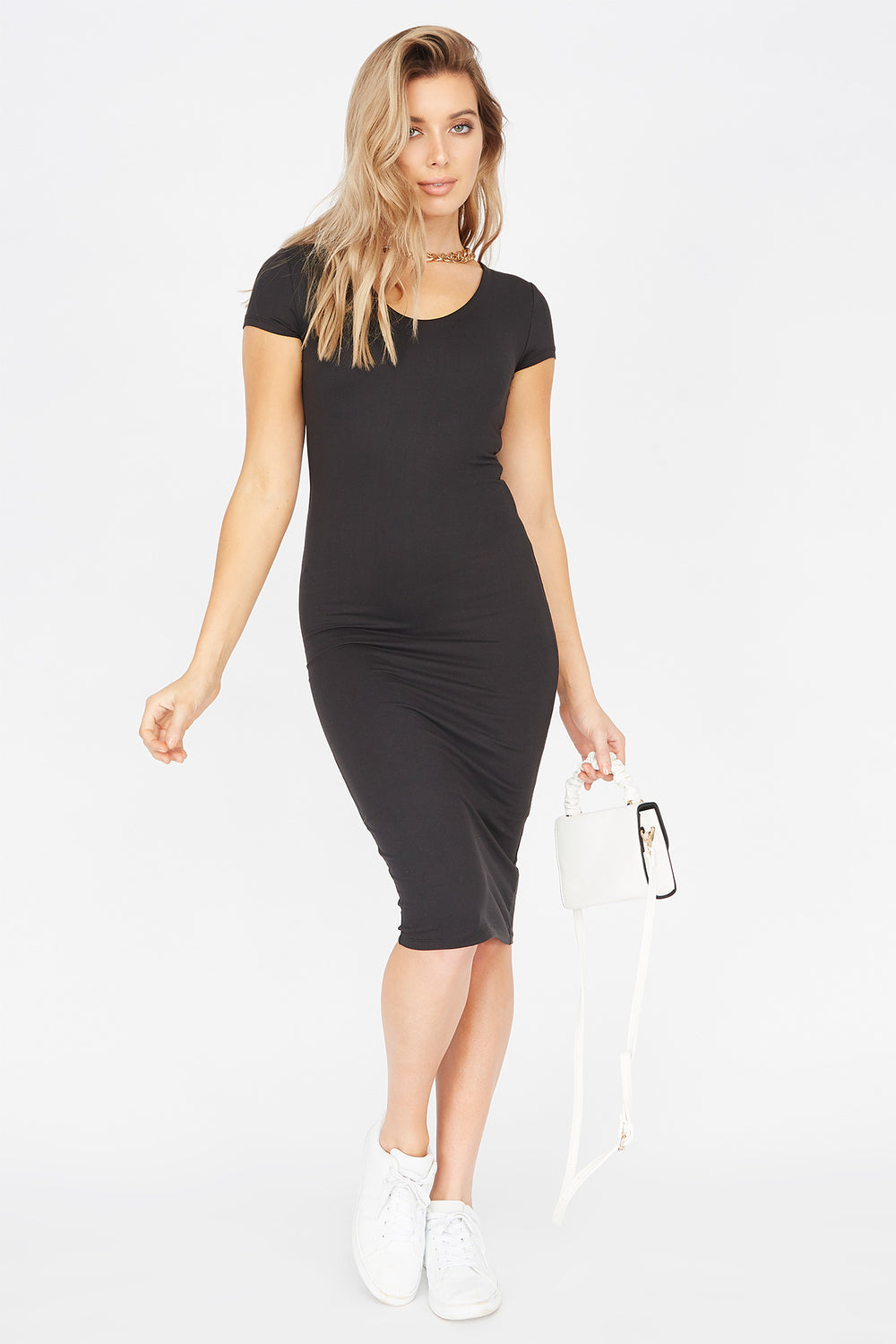 Soft Short Sleeve Midi Bodycon Dress Black