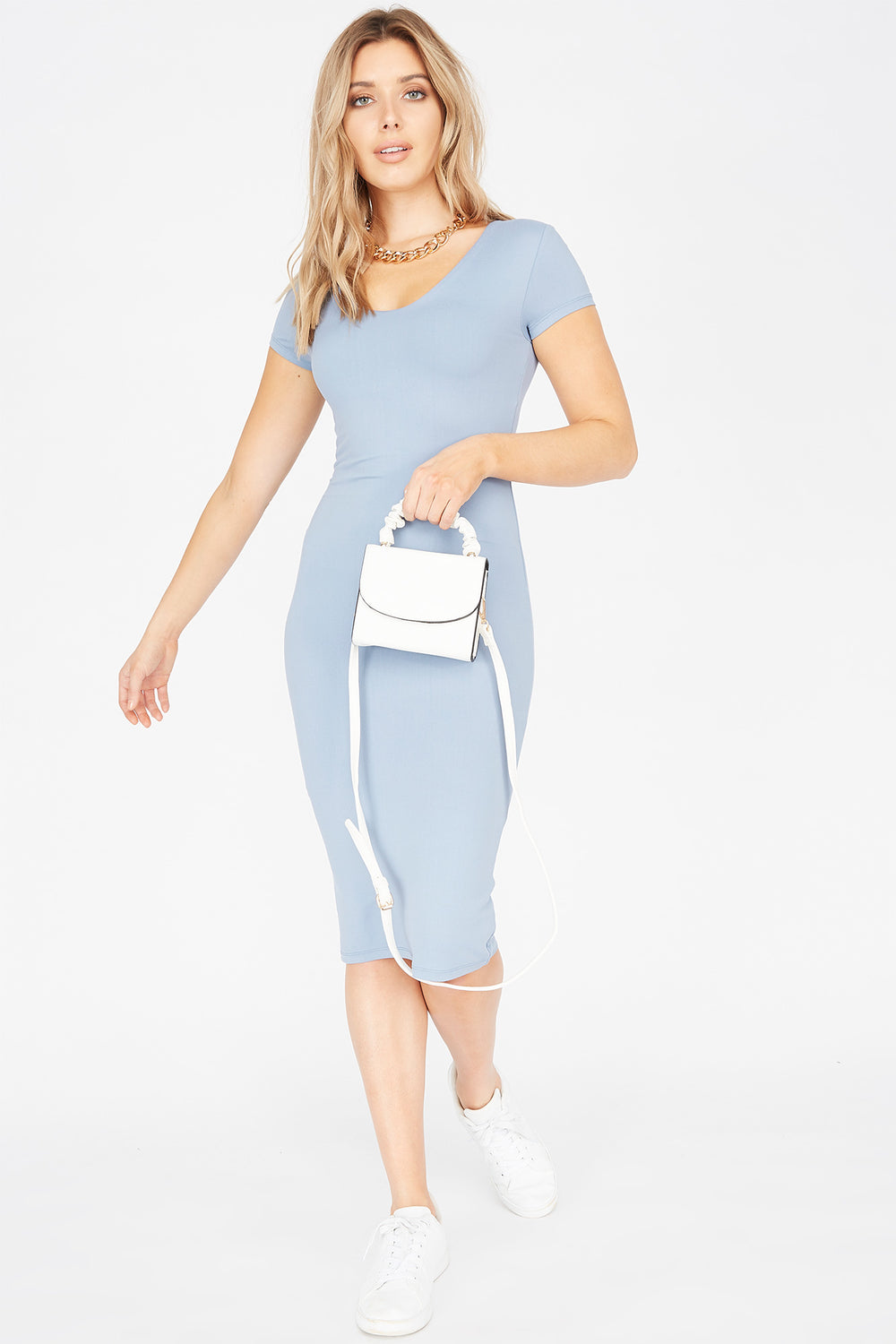 Soft Short Sleeve Midi Bodycon Dress Light Blue