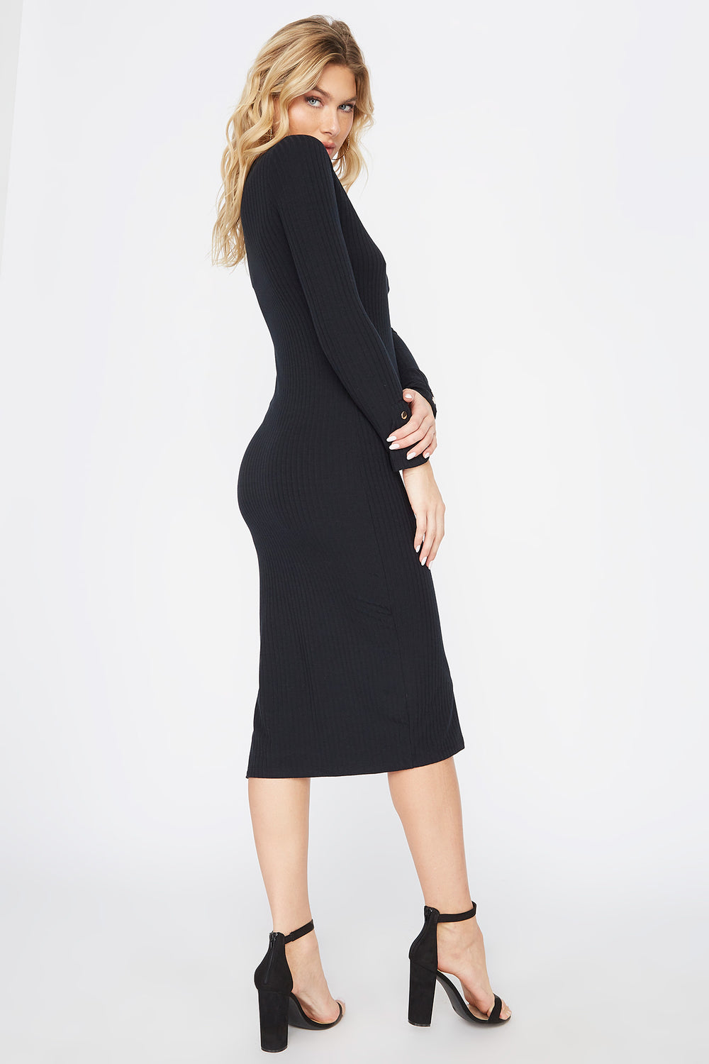 Slit Long Sleeve Midi Dress Black