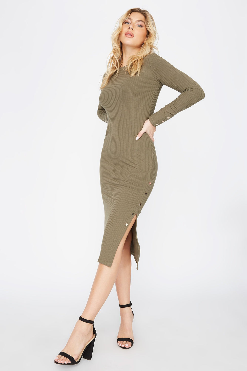 Slit Long Sleeve Midi Dress Dark Green