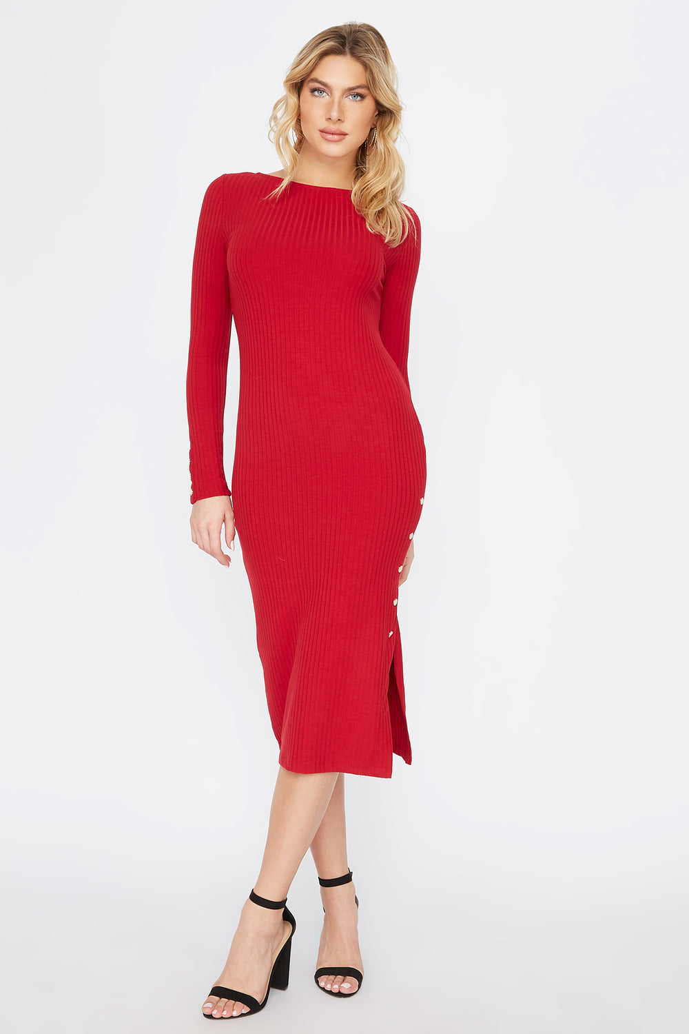 Slit Long Sleeve Midi Dress Red