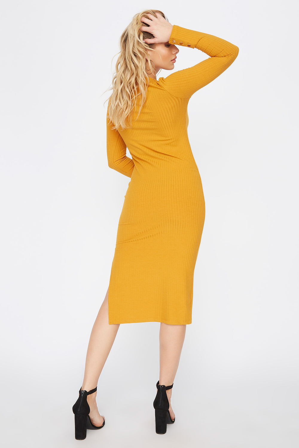 Slit Long Sleeve Midi Dress Mustard