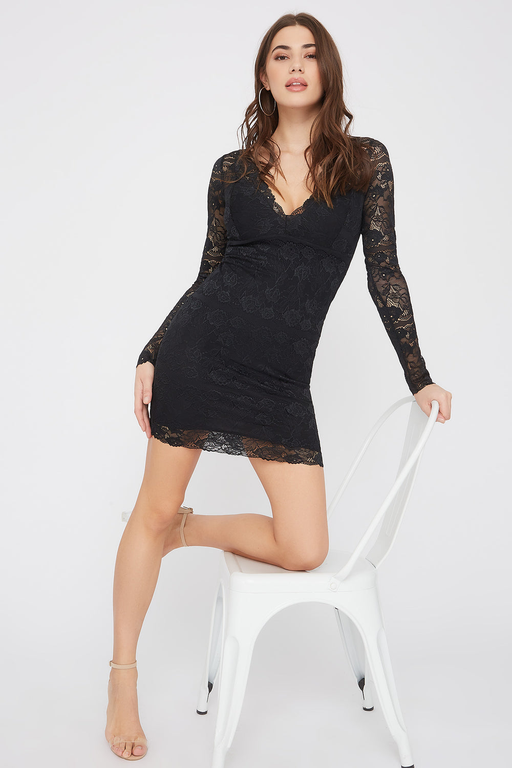 Lace Long Sleeve V-Neck Mini Dress Black