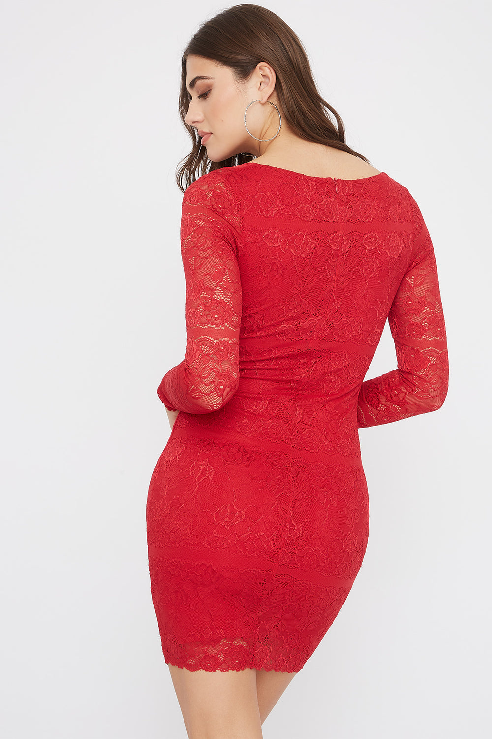Lace Long Sleeve V-Neck Mini Dress Red