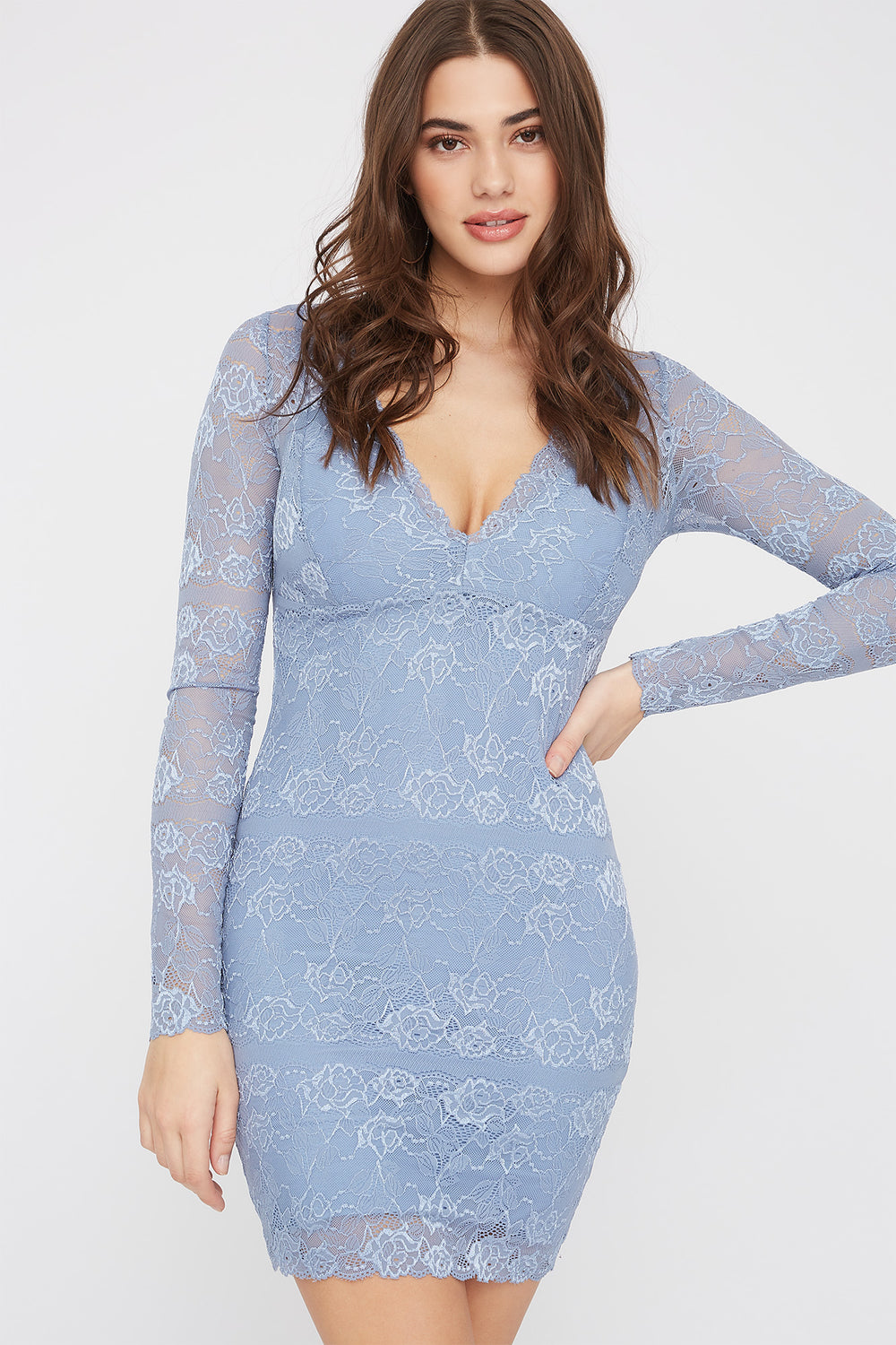 Lace Long Sleeve V-Neck Mini Dress Grey Blue
