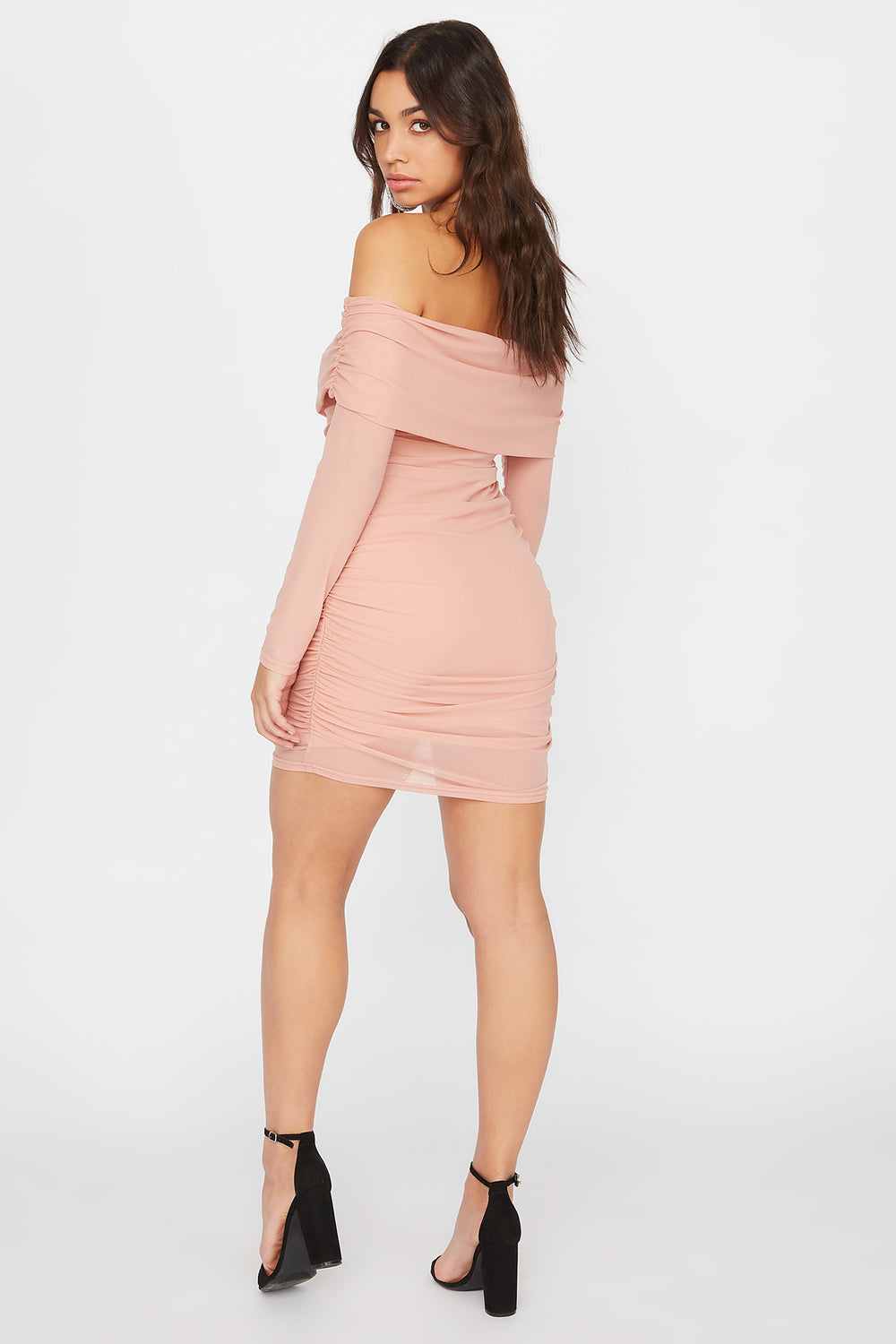 Mesh Off The Shoulder Ruched Mini Dress Dusty Rose