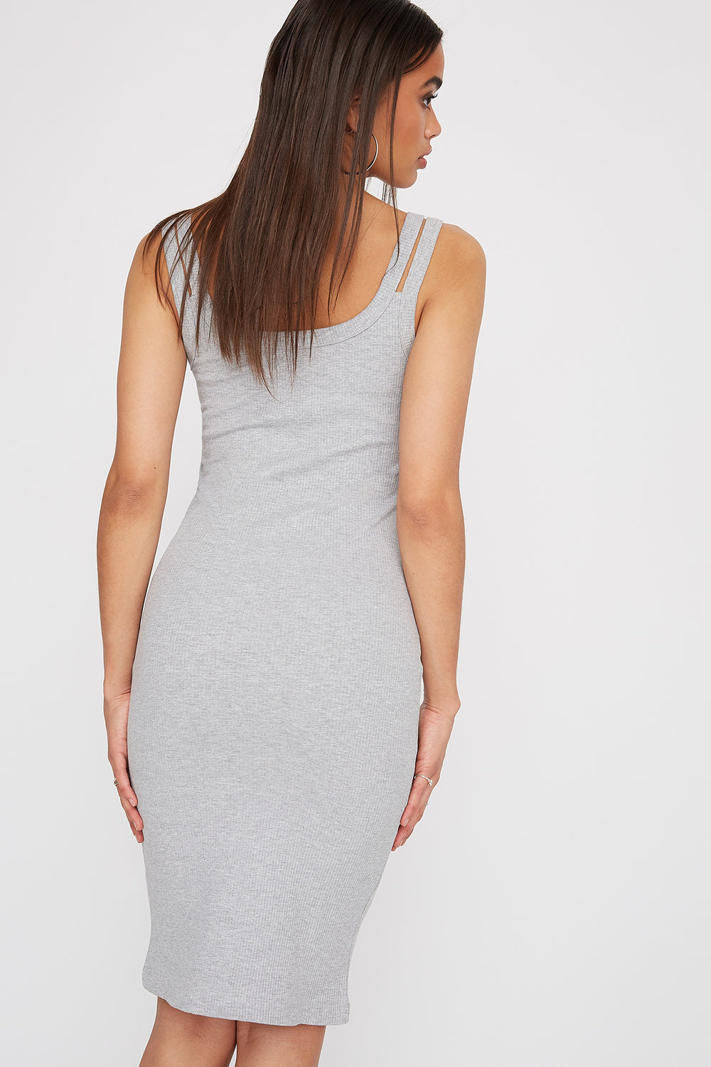 Double Strap Knit Sleeveless Mini Dress Heather Grey