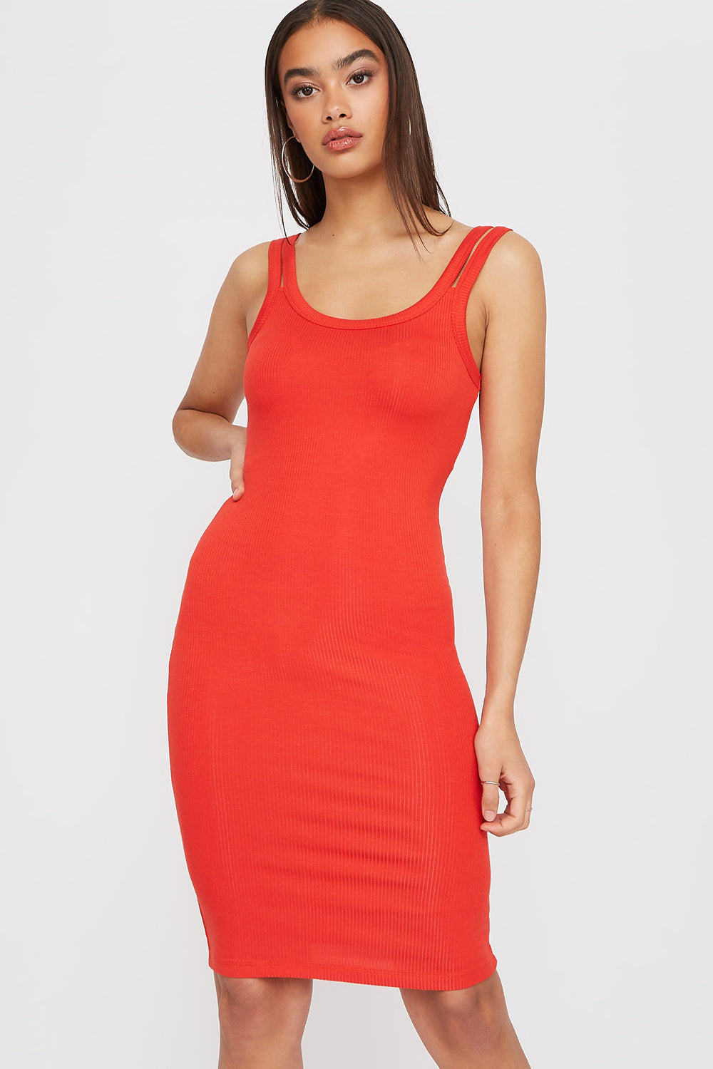 Double Strap Knit Sleeveless Mini Dress Coral