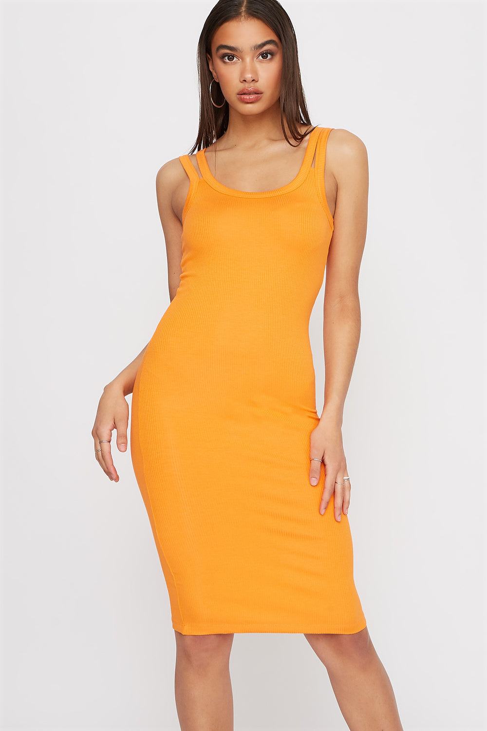 Double Strap Knit Sleeveless Mini Dress Orange