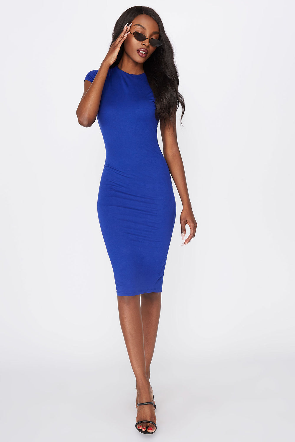 Crew Neck Short Sleeve Midi Dress Royal Blue