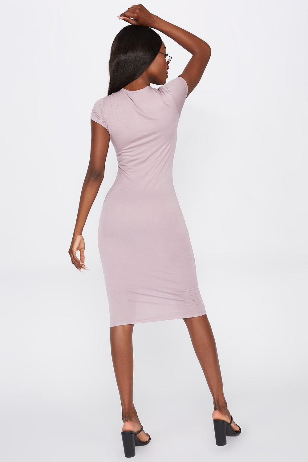 Crew Neck Short Sleeve Midi Dress Lilac