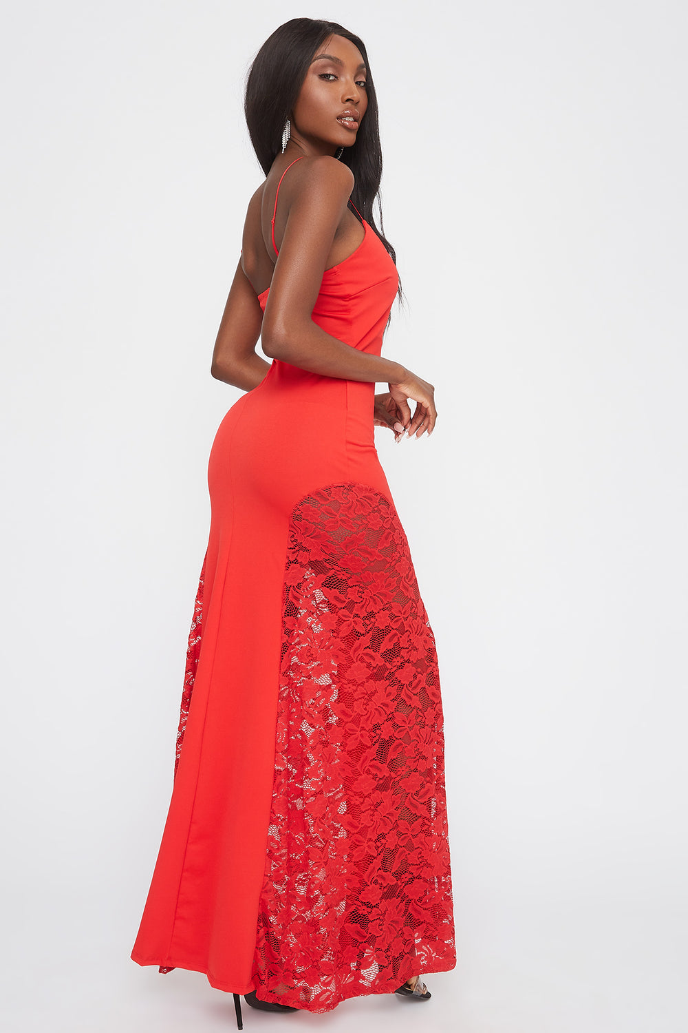 V-Neck Lace Insert Maxi Dress Red