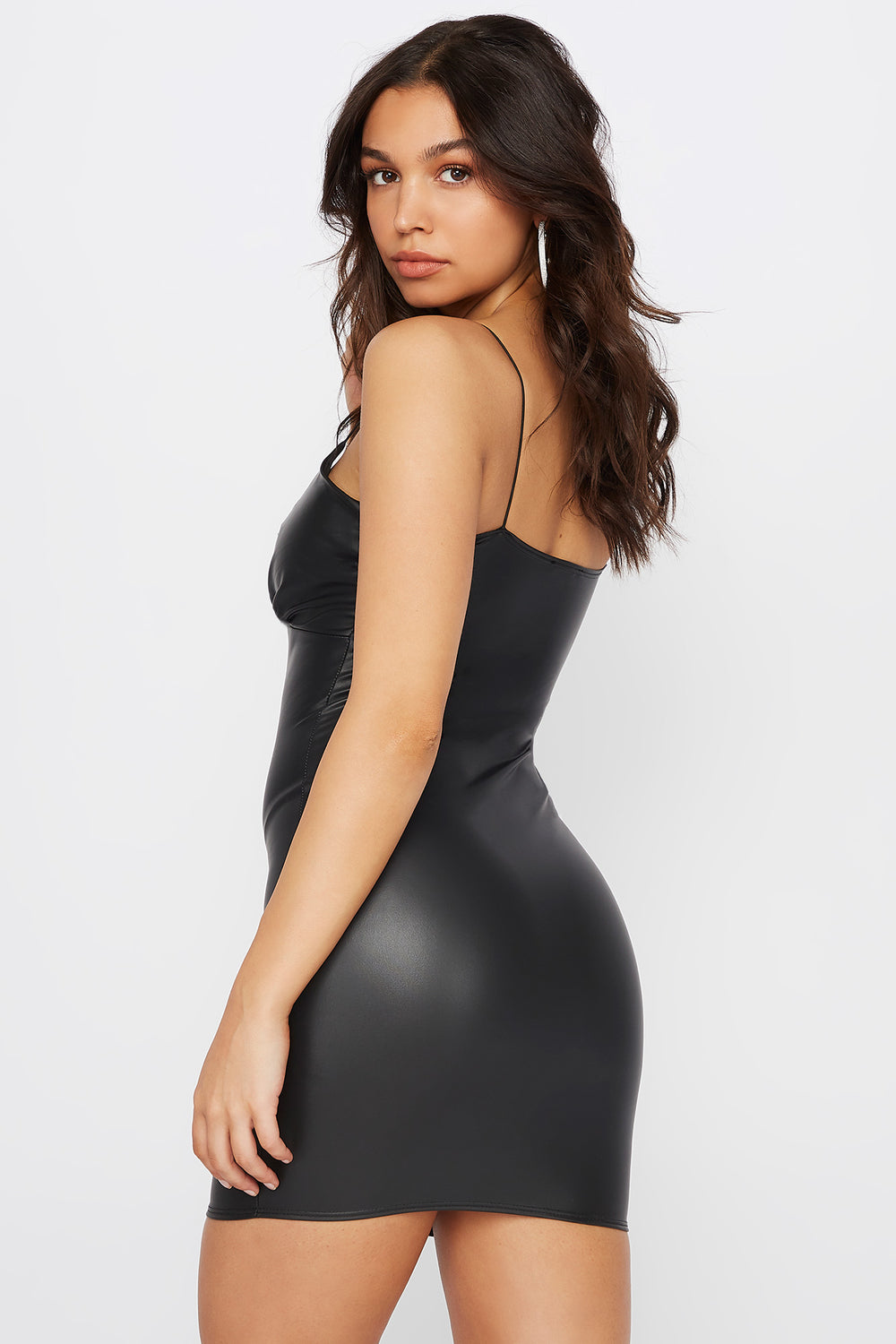 Faux-Leather Ruched Bodycon Mini Dress Black