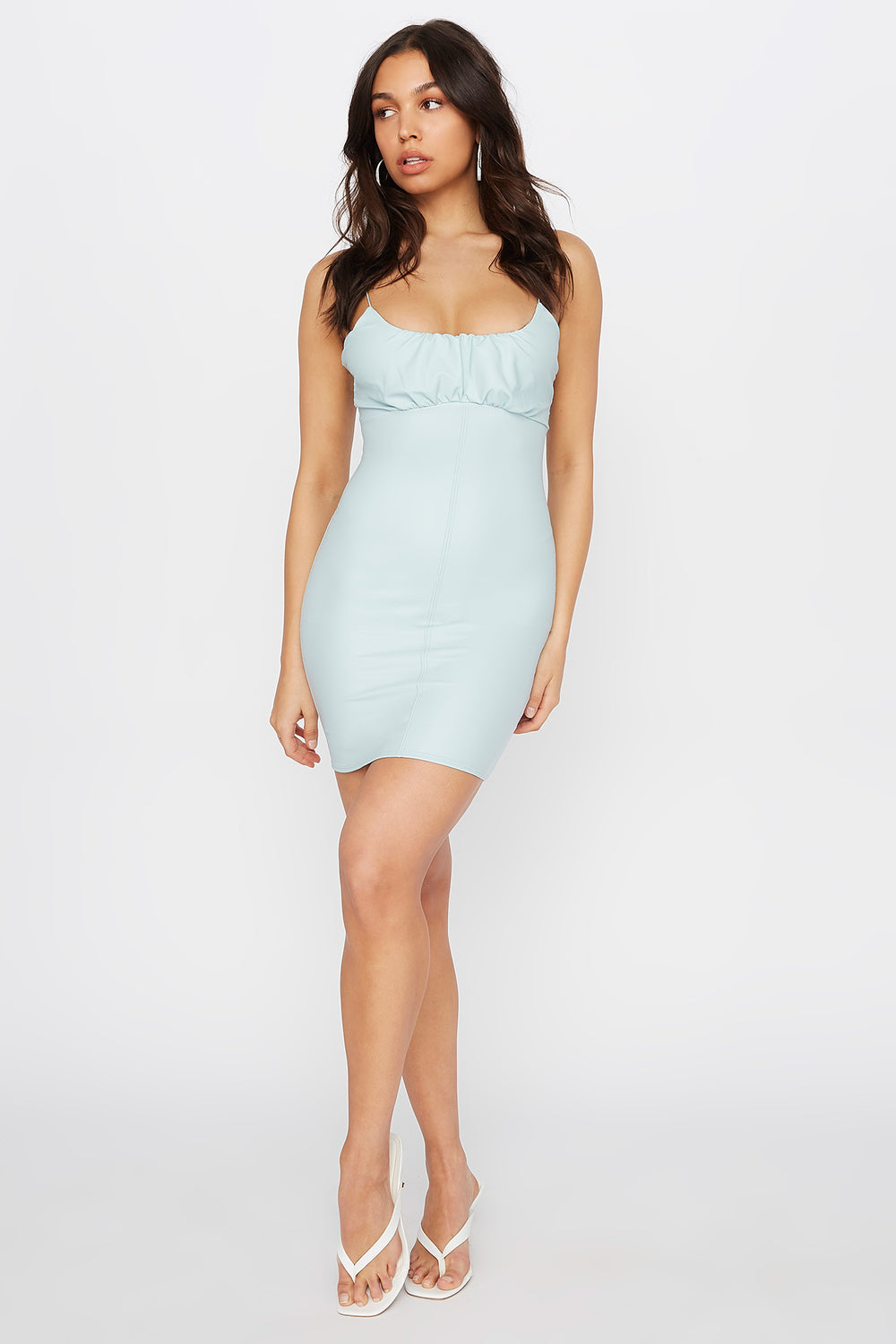 Faux-Leather Ruched Bodycon Mini Dress Light Blue