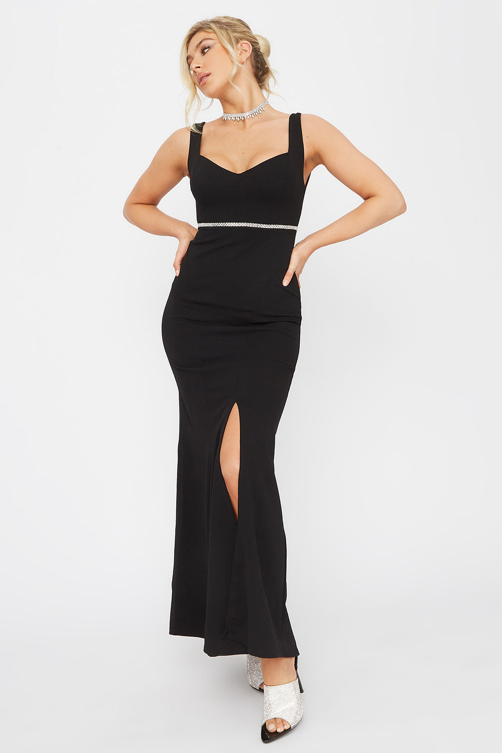 Rhinestone Belt Sweetheart Neck Maxi Dress Black