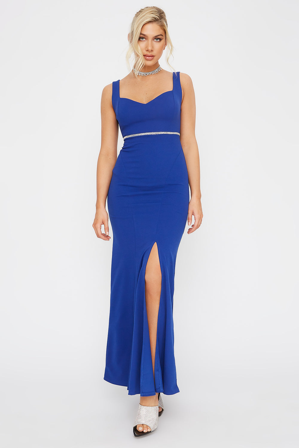 Rhinestone Belt Sweetheart Neck Maxi Dress Royal Blue