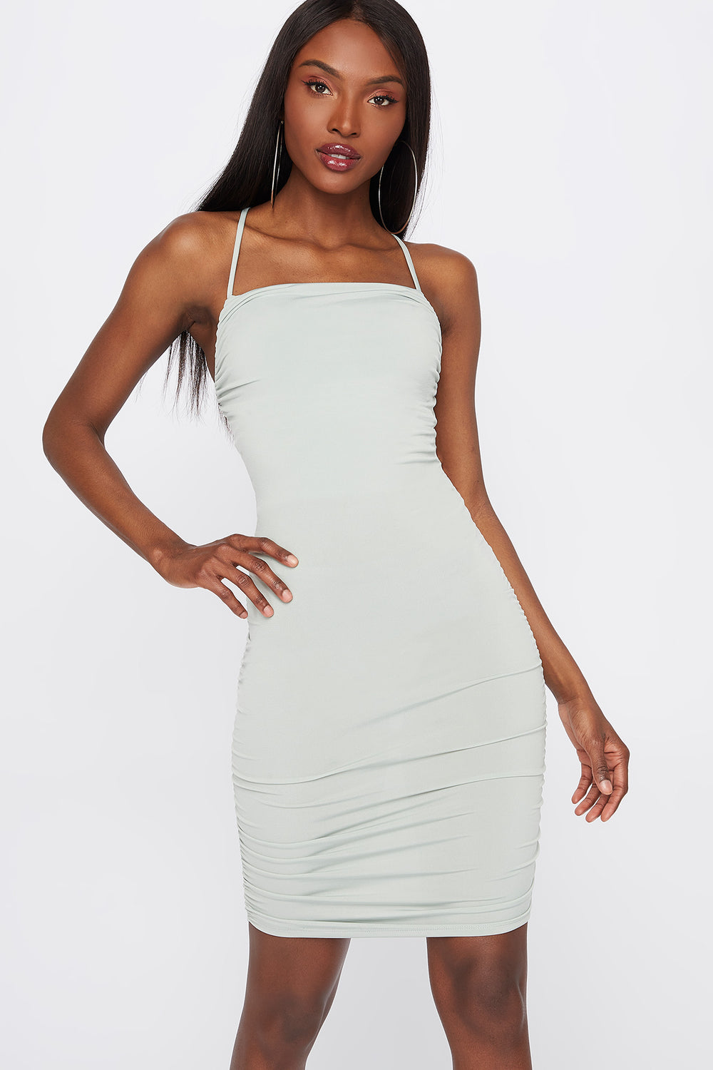 Ruched Tie-Back Bodycon Mini Dress Sage