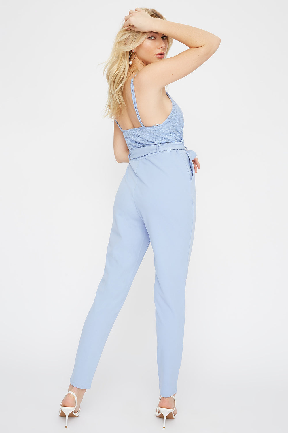Lace Contrast Paperbag Jumpsuit Light Blue