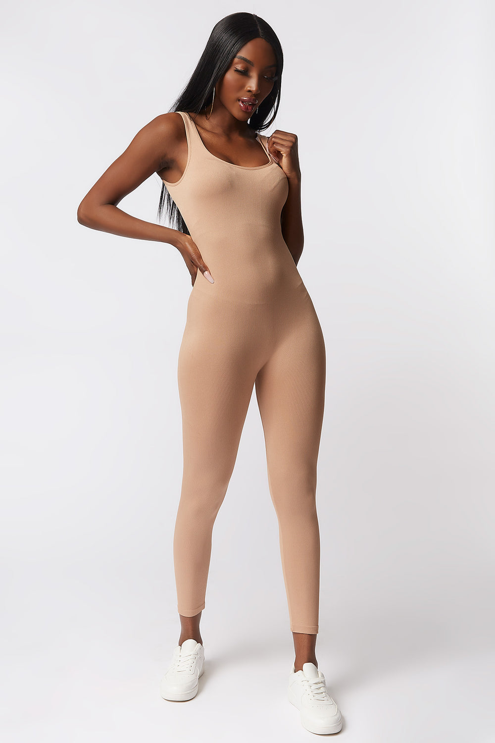 Ribbed Tank Jumpsuit Camel