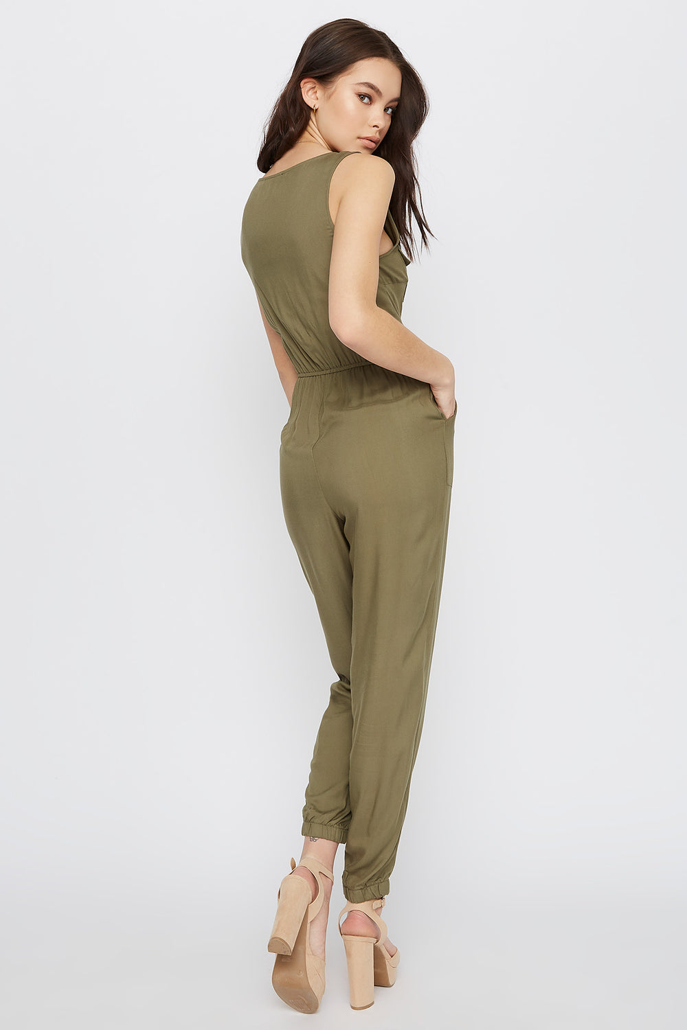Sleeveless V-Neck Jumpsuit Dark Green
