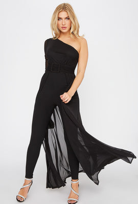 Mesh Cape One Shoulder Jumpsuit