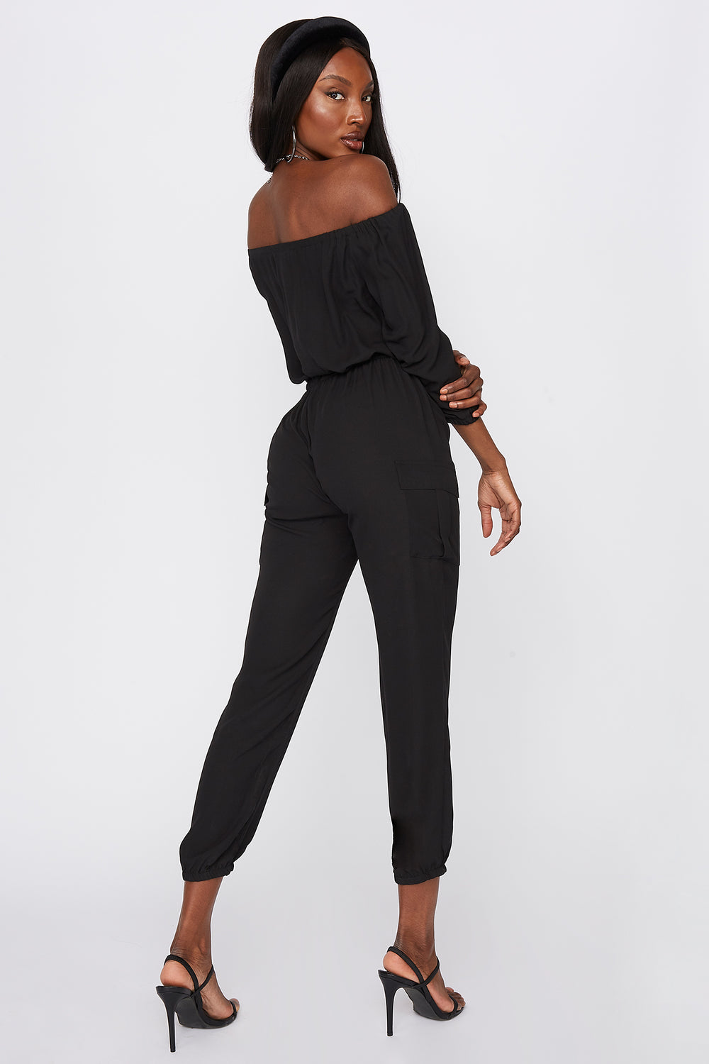 Off The Shoulder Button-Up Jumpsuit Black