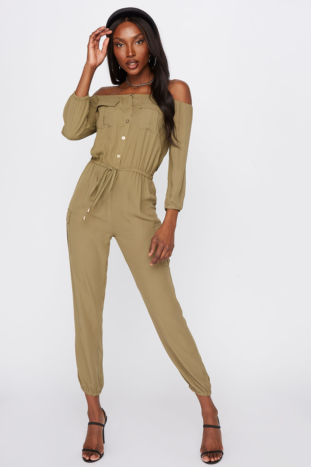 Off The Shoulder Button-Up Jumpsuit Dark Green