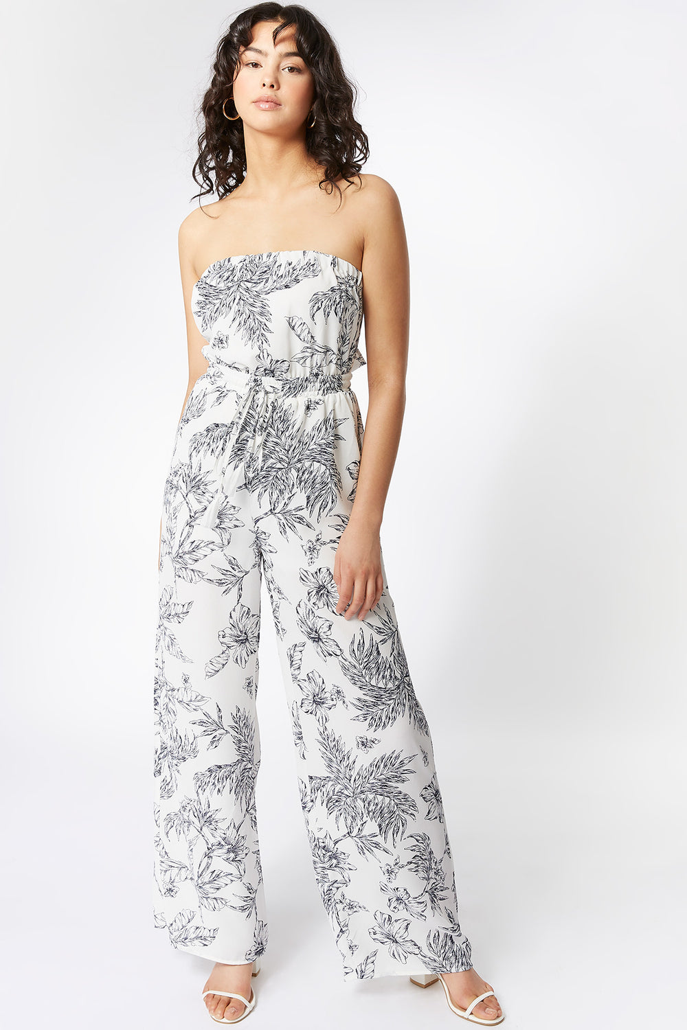 White Printed Strapless Self-Tie Palazzo Jumpsuit White