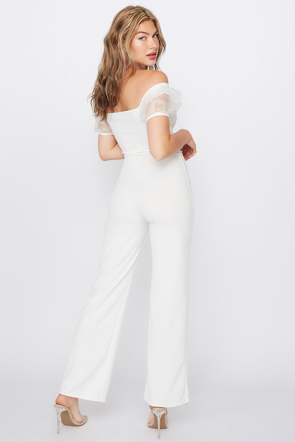 Off The Shoulder Puff Sleeve Front Tie Jumpsuit Ivory