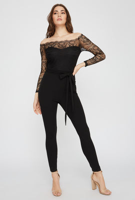 Lace Contrast Off The Shoulder Long Sleeve Jumpsuit