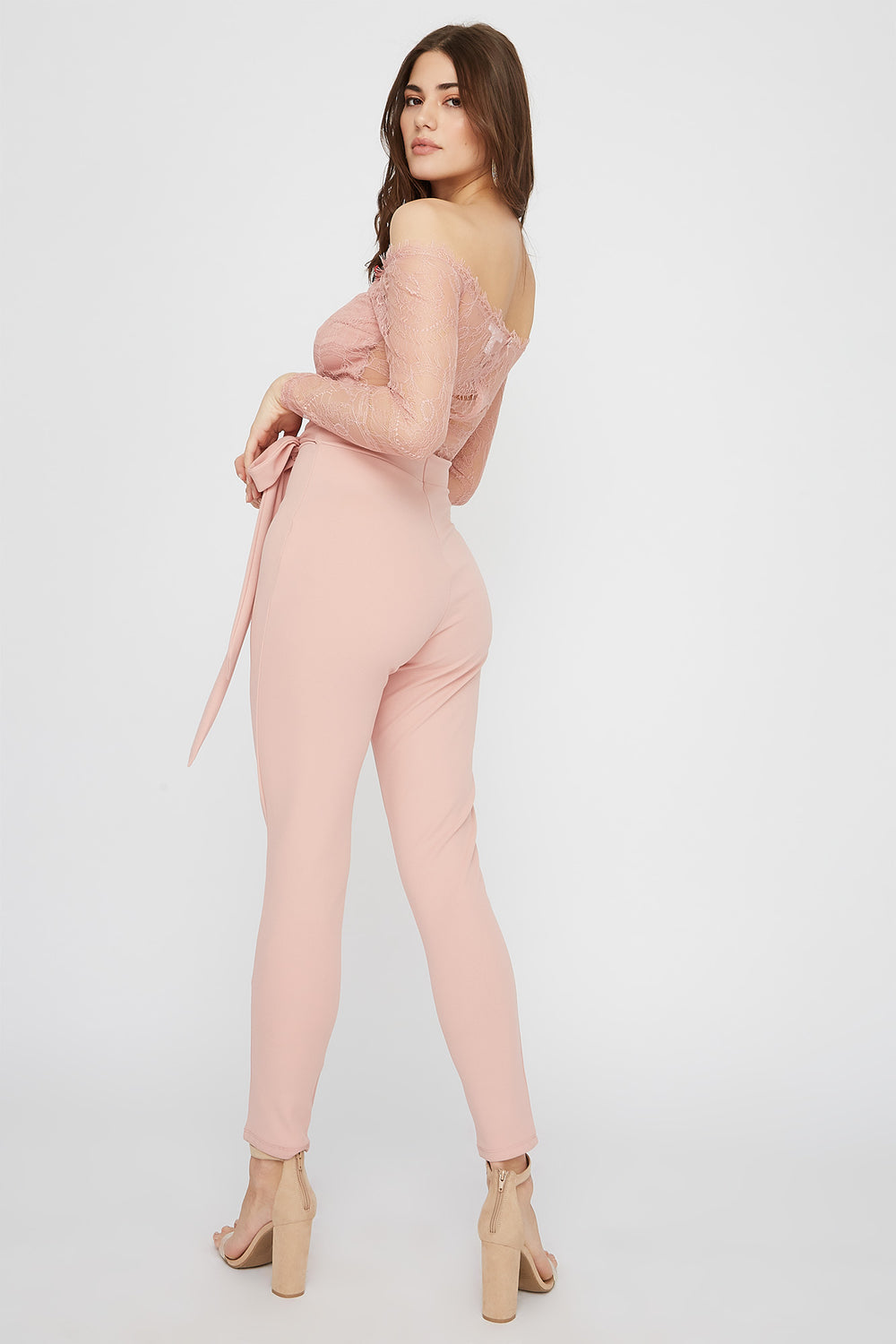 Lace Contrast Off The Shoulder Long Sleeve Jumpsuit Dusty Rose