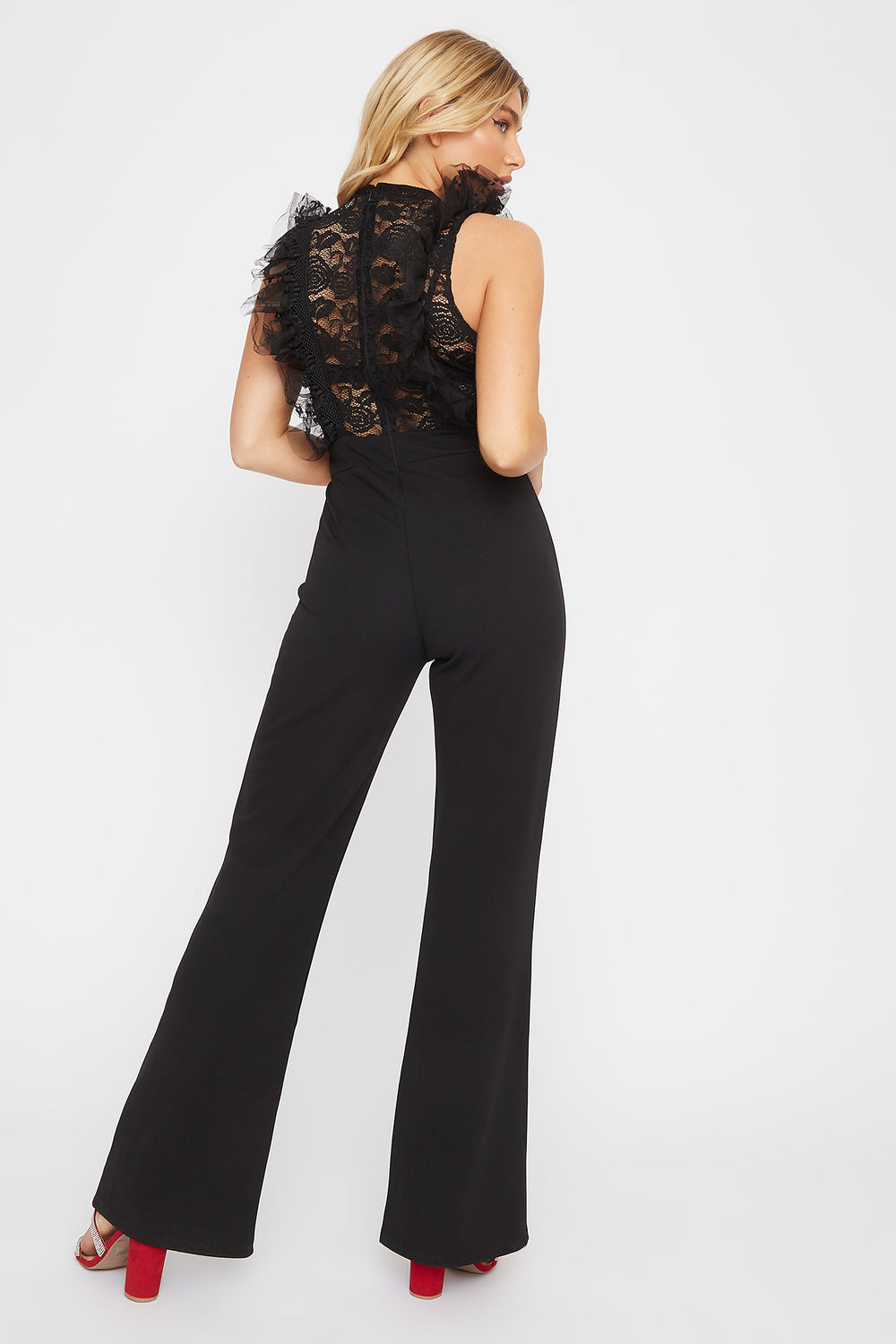 Lace V-Neck Sleeveless Jumpsuit Black