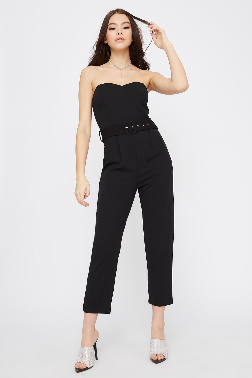 Strapless Sweetheart Neckline Belted Jumpsuit Black