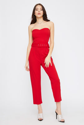 Strapless Sweetheart Neckline Belted Jumpsuit