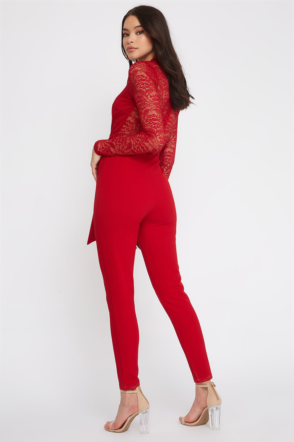 Contrast Lace Long Sleeve Jumpsuit Red