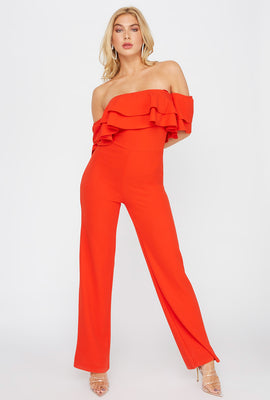Off The Shoulder Ruffle Jumpsuit
