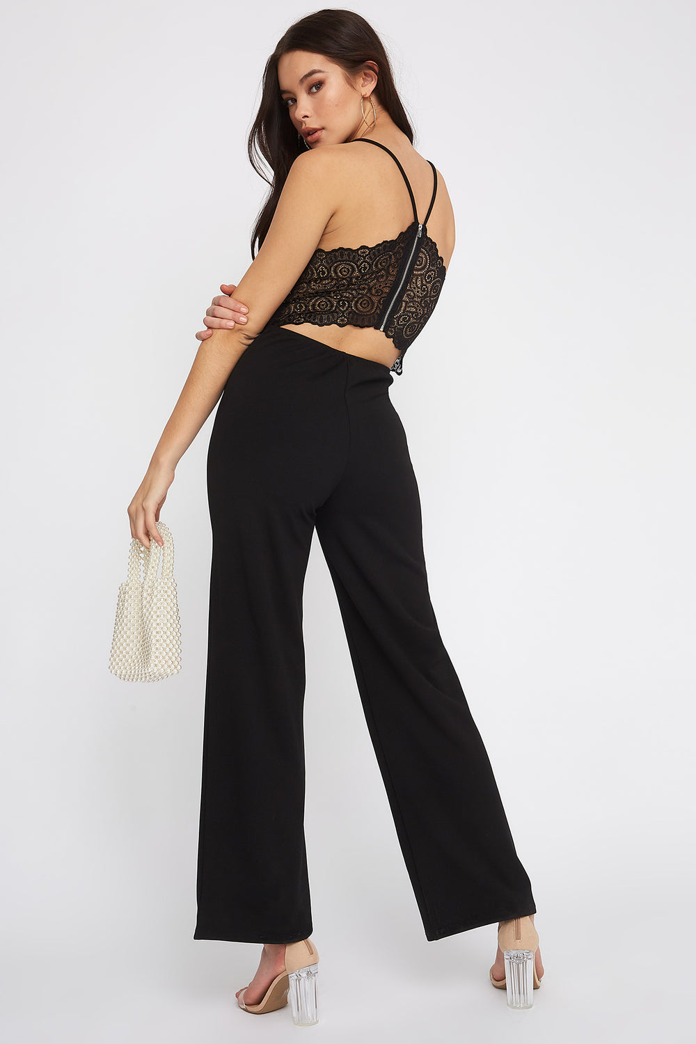 Sleeveless V-Neck Lace Jumpsuit Black