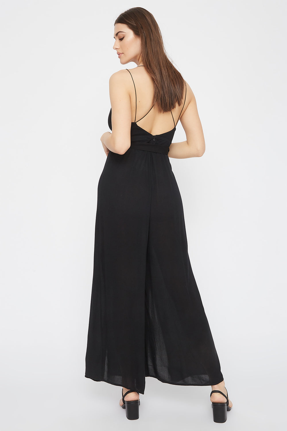 V-Neck Self Tie Slit Jumpsuit Black