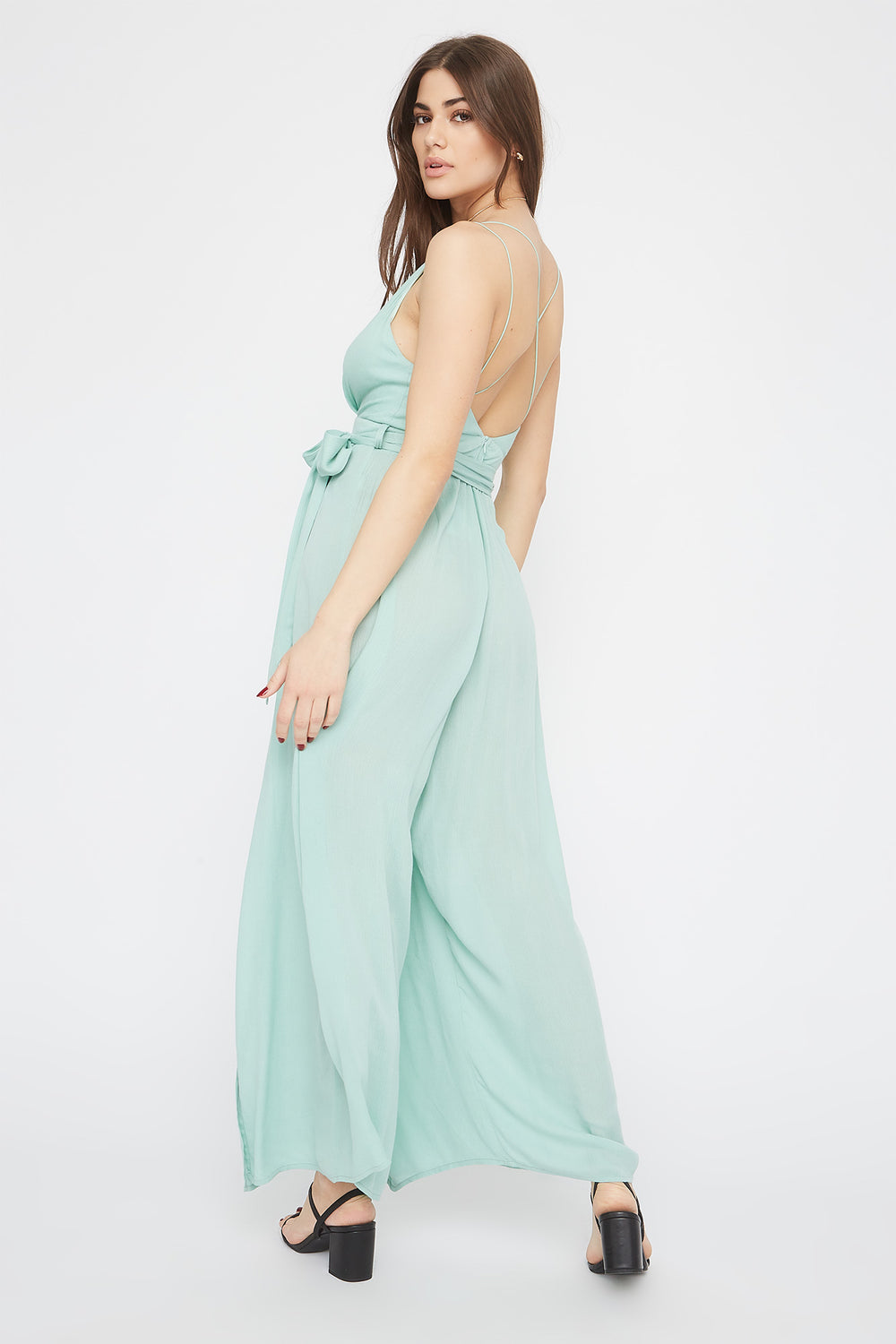 V-Neck Self Tie Slit Jumpsuit Aqua