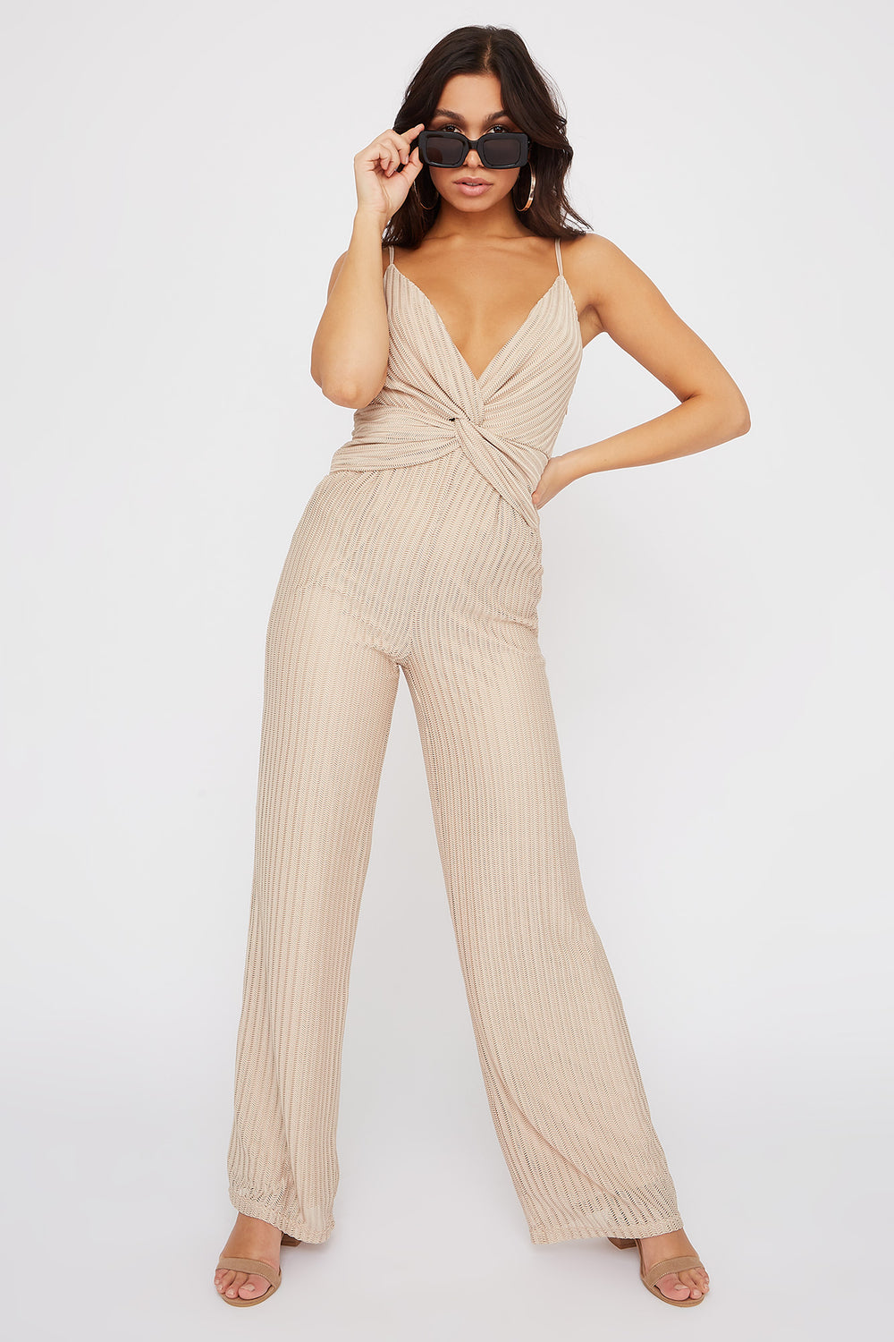 Slinky V-Neck Knot Jumpsuit Natural