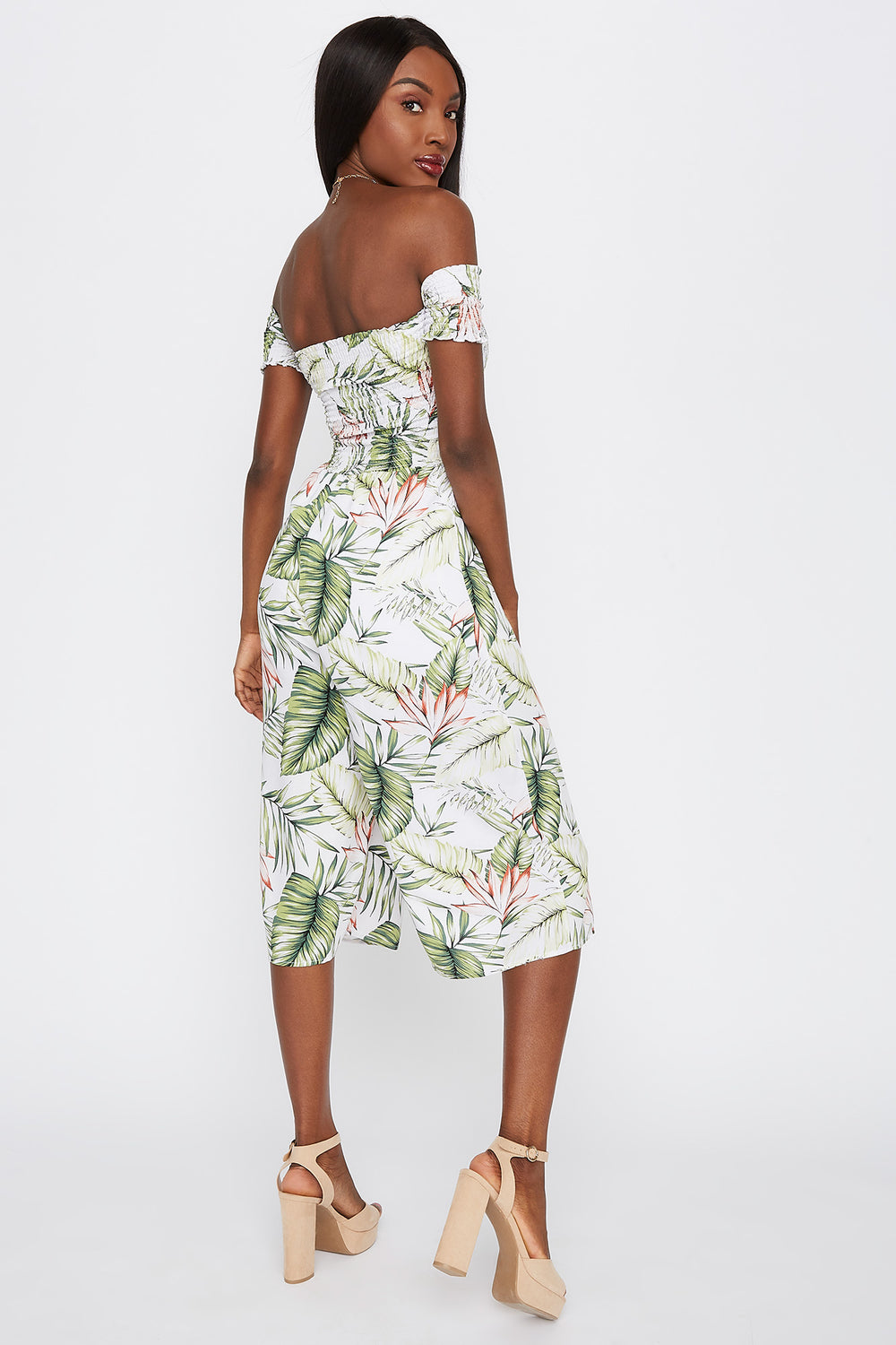 Off The Shoulder Smocked Printed Culotte Jumpsuit Ivory