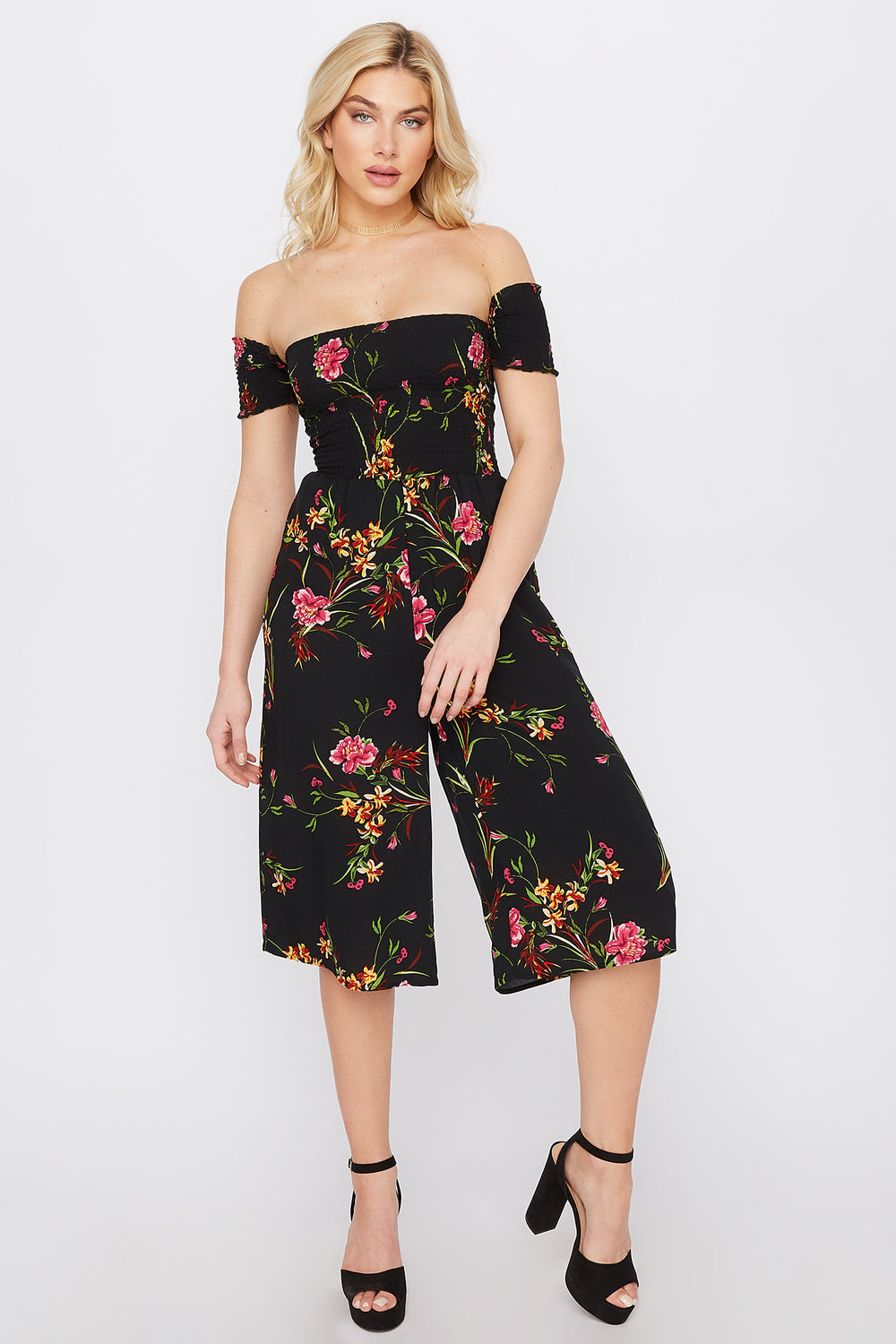 Off The Shoulder Smocked Printed Culotte Jumpsuit Pink