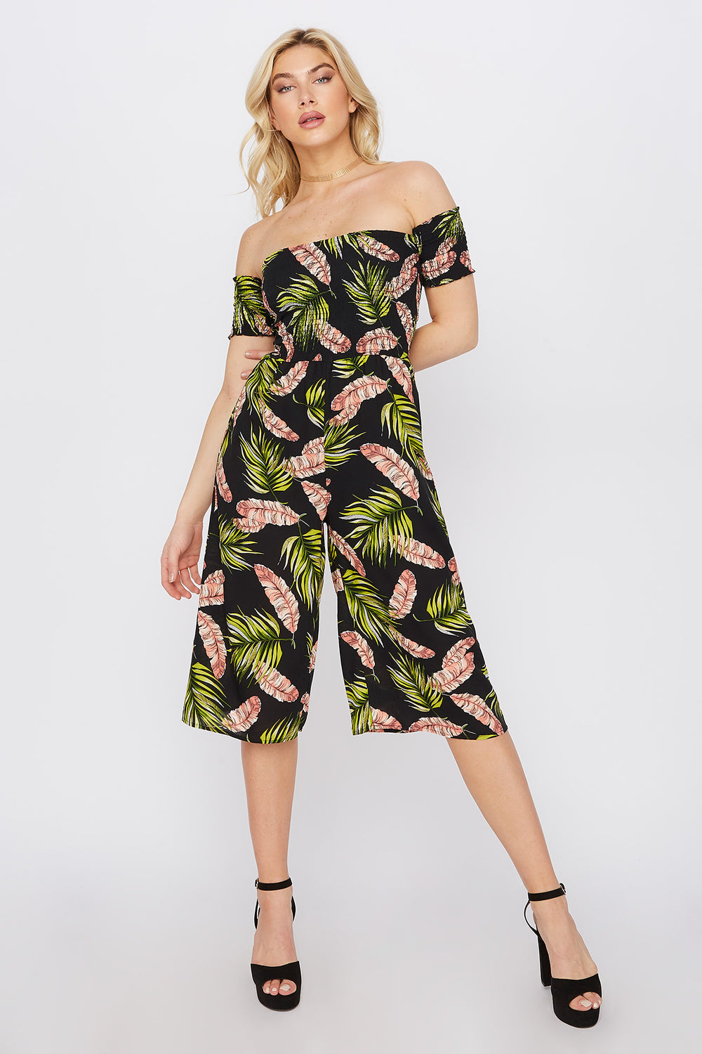Off The Shoulder Smocked Printed Culotte Jumpsuit Coral
